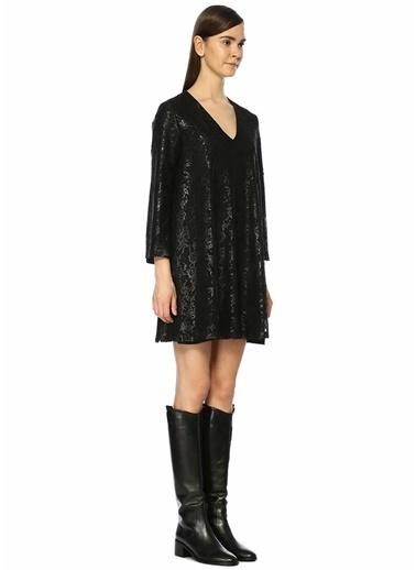 Beymen Club V Yaka Dantelli Varak Baskılı Mini Elbise Siyah